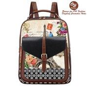 15311be0d46 Handbag Backpack European Dream Paris Design Rucksack Travel Bag Color Black  with City Designs