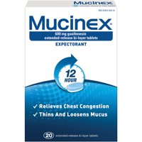 Mucinex 12 Hour Chest Congestion Expectorant Relief Tablets, 20 Count, Thins & Loosens Mucus