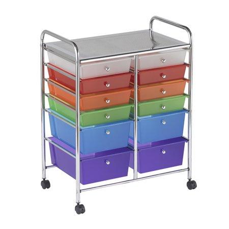 12 Drawer (8 Plus 4) Mobile Organizer - Assorted 5 Drawer Mobile Workcenter