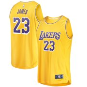 33219570568d LeBron James Los Angeles Lakers Fanatics Branded Youth 2018 19 Fast Break  Replica Jersey Gold