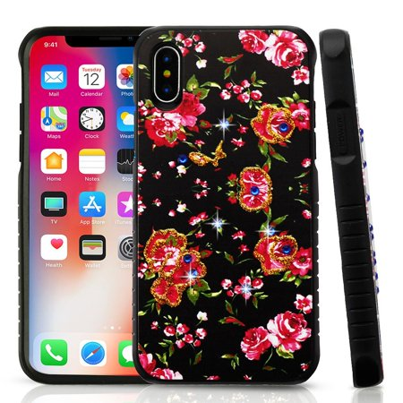 iPhone X Case, by Insten Flowers Dual Layer [Shock Absorbing] Hybrid Hard Plastic/Soft TPU Rubber Case Cover With Diamond For Apple iPhone X, Multi-Color+ BasAcc Charger Cable Charging Cord White Basacc Bumper Tpu Case