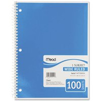 (4 Pack) Mead® Spiral® Notebook, 1 Subject, Wide Ruled, Assorted Colors