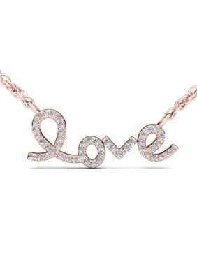 Imperial 1/6Ct TDW Diamond 10K Rose Gold 'Love' Necklace