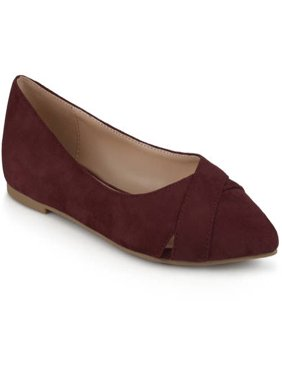 Brinley Co. Women's Pointed Toe Faux Suede Fashion Flats