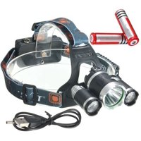 Elfeland 5000Lm 3x T6 LED Rechargeable Headlamp Headlight Night Fishing Head Light Torch Lamp Lantern Rainproof Outdoor Camping+ 2x18650 Battery + USB Charging Cable