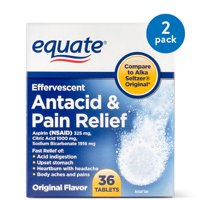 (2 Pack) Equate Antacid & Pain Relief Aspirin Effervescent Tablets, 325 mg, 36 Ct