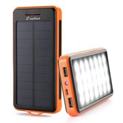 Solar Charger, Zanfl 15000mAh Portable Solar Power Bank Dual USB Backup Battery Pack Charger, Solar Phone External Battery Charger with 6 LED Flashlight for iPhone, Android, Tablet Camera and More