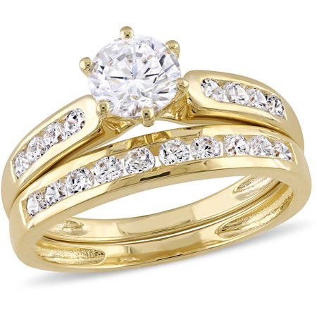 2-3/5 Carat T.G.W. CZ Yellow Rhodium-Plated Sterling Silver Bridal Set