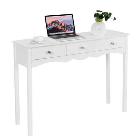 Hall Console Cabinet - Costway Console Table Hall table Side Table Desk Accent Table 3 Drawers Entryway White