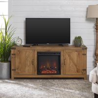 "58"" Barn Door Farmhouse Fireplace TV Media Stand for TVs up to 65"", Barnwood"