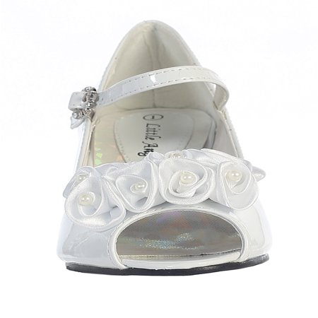 Dempsey Marie Girl's Peep Toe Dress Shoe with Satin Flowers](Childrens Dress Shoes)