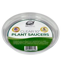 YOUniversal Products Clear Plant Saucers - Excellent For Indoor & Outdoor Plants (10 Inch, 5 Pack)