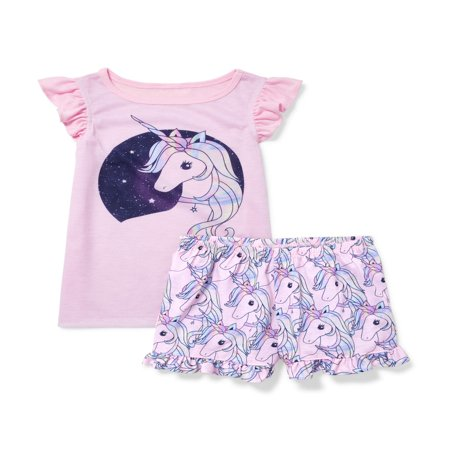 Childrens Pajamas (The Children's Place Ruffle sleeve top and sleep short, 2-piece pajama set (little girls & big girls) )