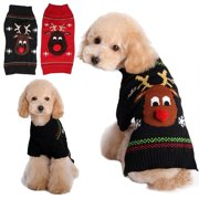 Cozy Knitted Breathable Pets Clothes ,Red Nose Deer Pattern Dog Vest Winter Coat Warm Dog Apparel for Christmas or Daily Wear in Winter for Small Medium Large dogs