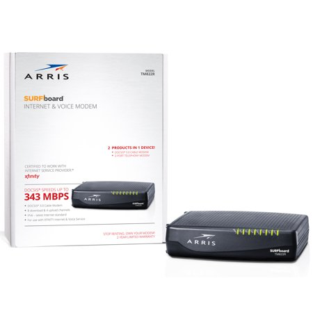 ARRIS SURFboard TM822R (8x4) Voice Cable Modem, DOCSIS 3.0 | Certified for Xfinity by Comcast | 343 Mbps Max (Best Cable Modems For Comcast Cables)