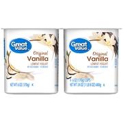 Great Value Original Vanilla Lowfat Yogurt, 6 oz, 4 ct