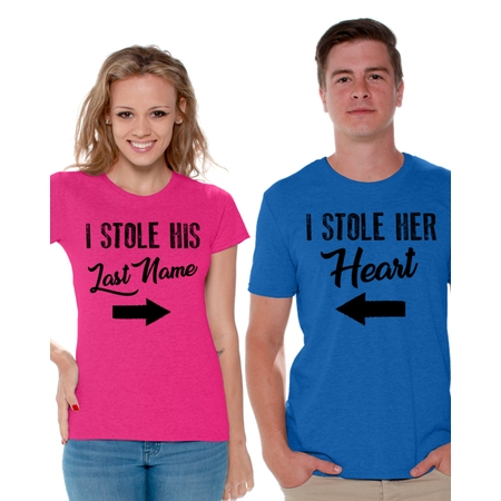 Awkward Styles I Stole His Last Name Shirt I Stole Her Heart T Shirt for Couples Cute Matching Couple Shirts Happy Valentines Day Love Gift for Couple Husband and Wife Couple T Shirts Anniversary Gift ()