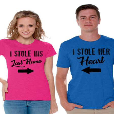 Awkward Styles I Stole His Last Name Shirt I Stole Her Heart T Shirt for Couples Cute Matching Couple Shirts Happy Valentines Day Love Gift for Couple Husband and Wife Couple T Shirts Anniversary Gift