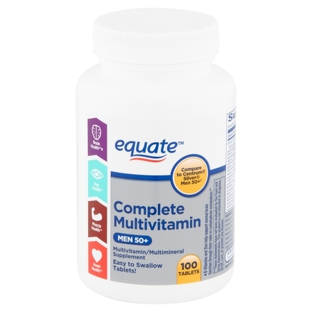 One Daily Mens 100 Tablets - Equate Complete Multivitamin Tablets, Men 50+, 100 count