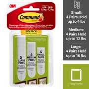 Command Assorted Picture Hanging Strips, Big Pack, 8 Sets Large, 6 Sets Medium, 4 Sets Small/Pack