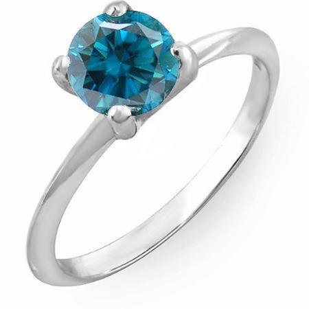 Dazzlingrock Collection 1.00 Carat (ctw) 18K Round Blue Diamond Bridal Engagement Solitaire Ring 1 CT, White Gold, Size 10 1/2 Ct Ctw Diamond Solitaire