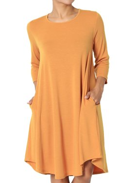 TheMogan Women's S~3X 3/4 Sleeve A-Line Flared Jersey Knit Pocket T-Shirt Dress