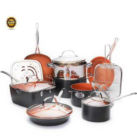 Gotham Steel 15 piece Pan Set, Nonstick Copper Cookware (Gorham Set)