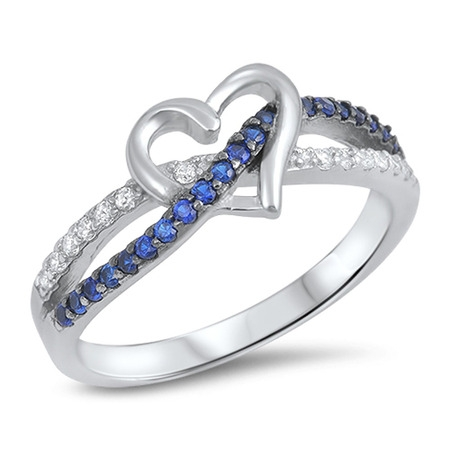 CHOOSE YOUR COLOR Blue Simulated Sapphire Infinity Knot Promise Heart Ring .925 Sterling Silver