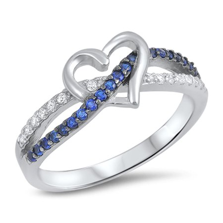 - CHOOSE YOUR COLOR Blue Simulated Sapphire Infinity Knot Promise Heart Ring .925 Sterling Silver Band