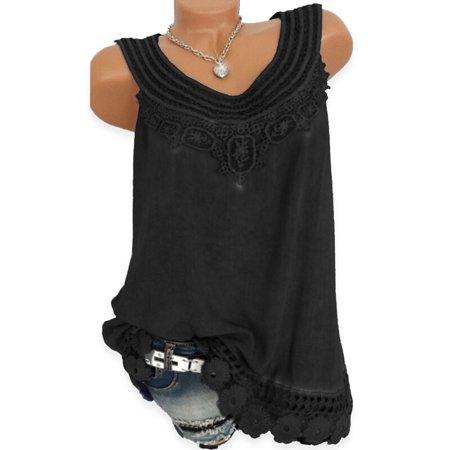 Rope Lace (Women Top Lace Patchwork Tank Tops Vest Blouse Shirt)