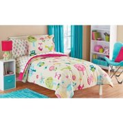 White Pink Green And Blue Owl Bird Cute Kids Twin Bedding Set 5 Piece Bed