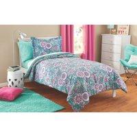 Mainstays Kids Floral Medallion Bed in a Bag Complete Bedding Set