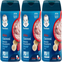 (3 Pack) GERBER LIL' BITS Oatmeal Banana Strawberry Baby Cereal, 8 oz