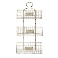 Three Tiered Metal Wire Basket Shelf With White Weathered Accent
