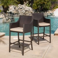 Cooper Outdoor Wicker Bar Stool with Cushion, Set of 2, Multibrown, Tan