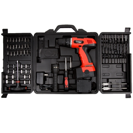 Drill Tool (Cordless Drill Set-78 Piece Kit, 18-Volt Power Tool with Bits, Sockets, Drivers, Battery Charger, AC Adapter, Flashlight and Carrying Case by Stalwart )