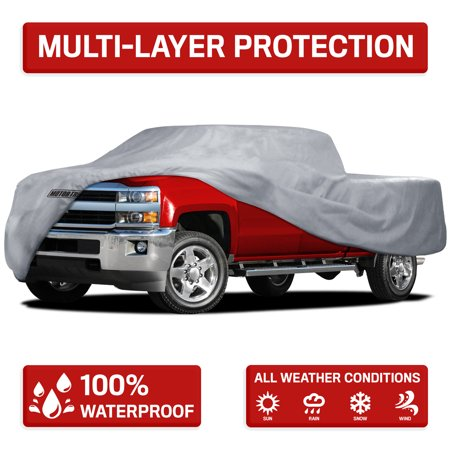 Truck Covers (Motor Trend Four Season Waterproof Outdoor Truck Cover for Heavy Duty Use - 4 Layers Snow, Water, Sun , UV)