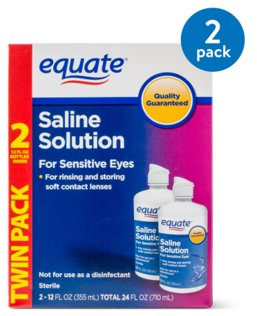 (2 Pack) Equate Saline Solution For Sensitive Eyes, 12 Oz, 2 Pk