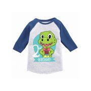 Awkward Styles Dinosaur Birthday Toddler Raglan Jersey Shirt For 2 Year Old 2nd Gifts