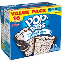 (2 Pack) Kellogg's Pop-Tarts Breakfast Toaster Pastries, Frosted Cookies and Creme Flavored, Value Pack, 28.8 oz 16 Ct