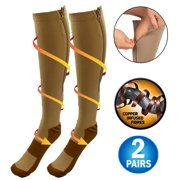 731aaf4c9 Copper Infused Zipper Compression Socks - Closed Toe Zip Up Circulation  Pressure Stockings - Knee High