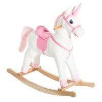 Qaba Kids Plush Toy Rocking Horse Unicorn with Realistic Sounds