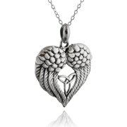 7cd82a081 Sterling Silver Angel Wings Heart with Celtic Trinity Knot Pendant Necklace,  18