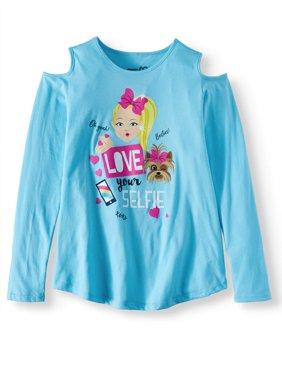 "JoJo Siwa ""Love Your Selfie"" Cold Shoulder Long Sleeve T-Shirt (Little Girls & Big Girls)"