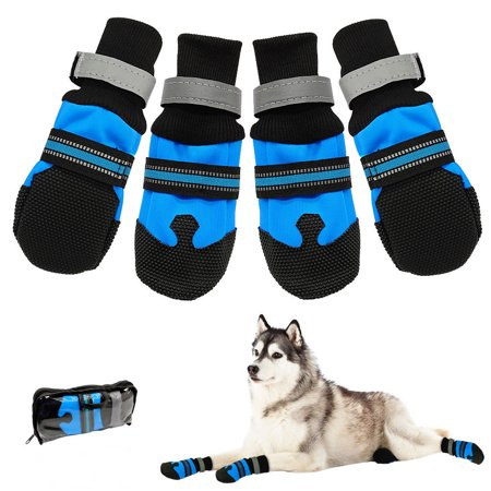 Waterproof Pet Shoes Boots,Breathable Paw Sole Protectors with Reflective, Rugged Anti-Slip Water Resistant for Small Medium Large Dogs (Cute Large Dogs)