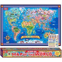 T.S. Shure Pictorial Map of The World, Laminated Poster With Stickers
