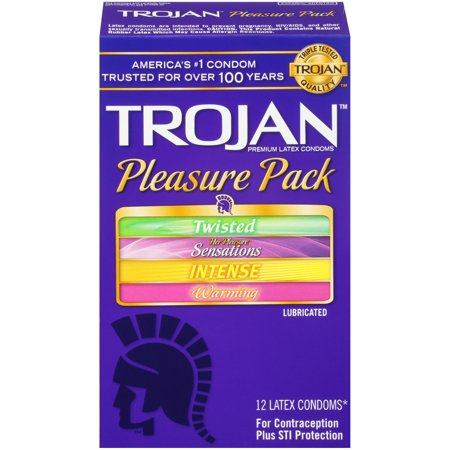 Trojan Pleasure Pack Lubricated Condoms, 12ct (Best Condoms For Women)
