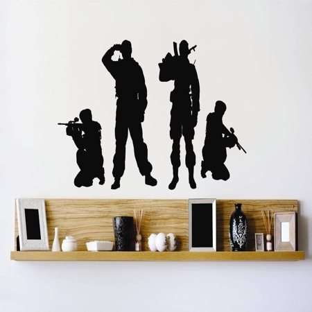 - Custom Wall Decal Vinyl Sticker : Army Soldiers Men Fighting Combat War Guns Bedroom Bathroom Living Room 10x20