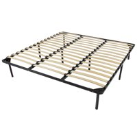 Best Choice Products King Size Wooden Slat Metal Bed Frame Wood Platform Bedroom Mattress Foundation w/ Bottom Storage, No Box Spring Needed - Black
