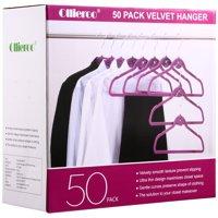 Allieroo 50PK Heavy Duty Cascade Hangers Swivel Hooks Ultra Thin Non-slip Velvet Coat Suit Hangers (Purple)